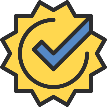 Badge with checkmark to symbolize exceeded requirement