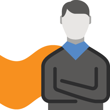 Confident high-performing employee with a cape-like graphic to emphasize performance