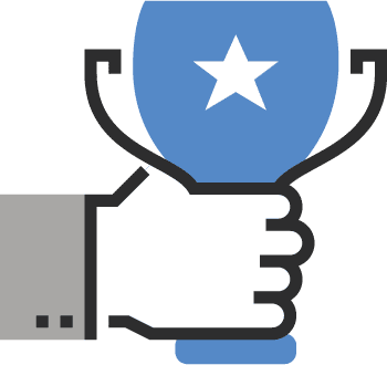 Hand holding blue trophy with star to recognize excellence in healthcare